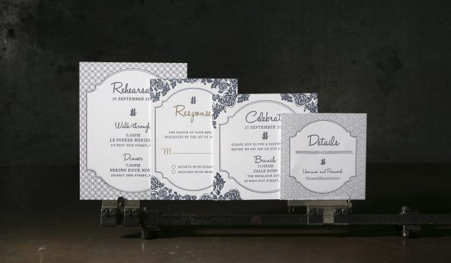 Letterpress + gold foil stamped wedding invitation suite