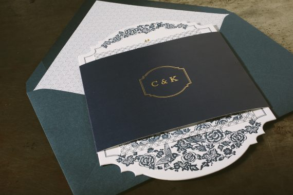Letterpress + gold foil stamped wedding invitations
