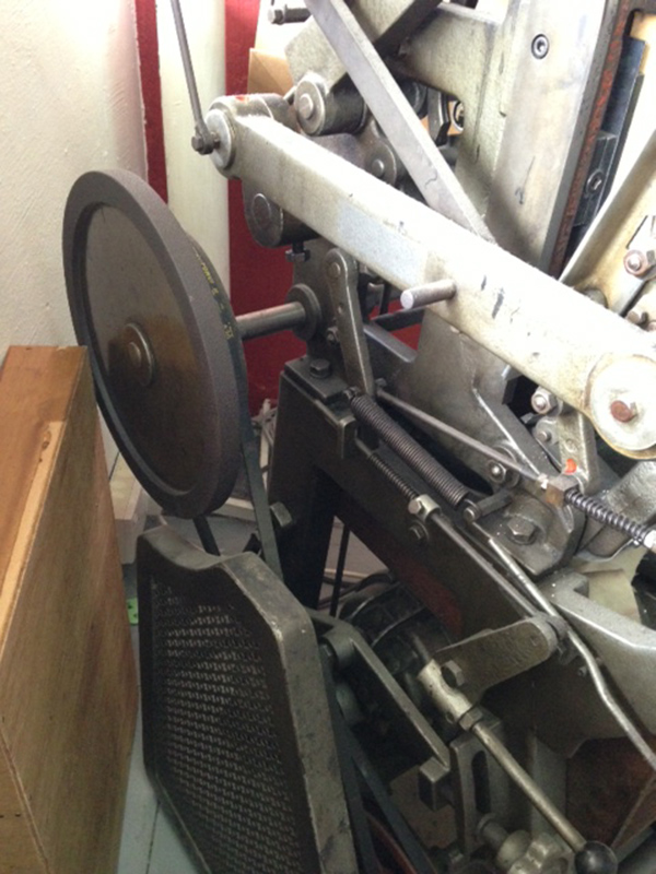 Corby of Papypress (Singapore) prints on a Japanese Super Ace press (detail: flywheel).