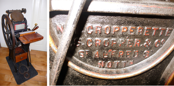 Pamela Farrell of Farrell & Chase (UK) has a delightful Cropperette press in her printshop.