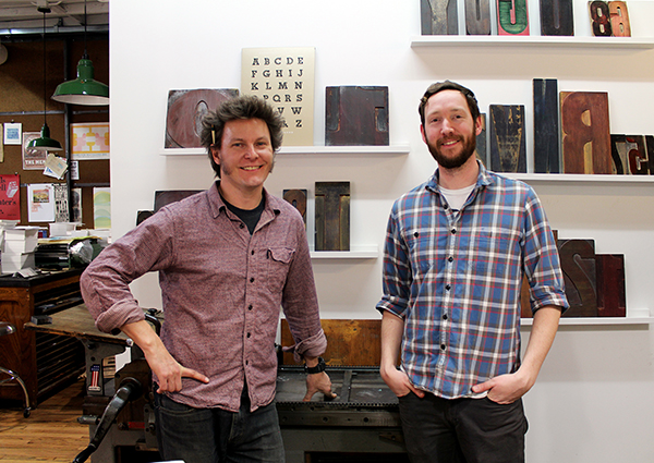 Jason Wedekind (left) of Genghis Kern in his Colorado-based letterpress printshop.