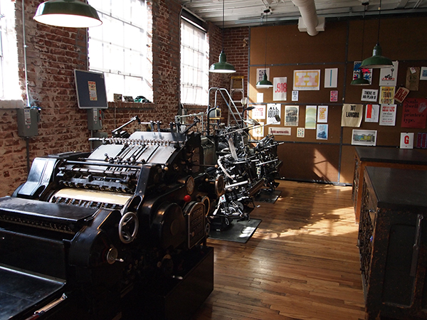 The beautiful printing presses gleam in the sunshine of Genghis Kern (Colorado).