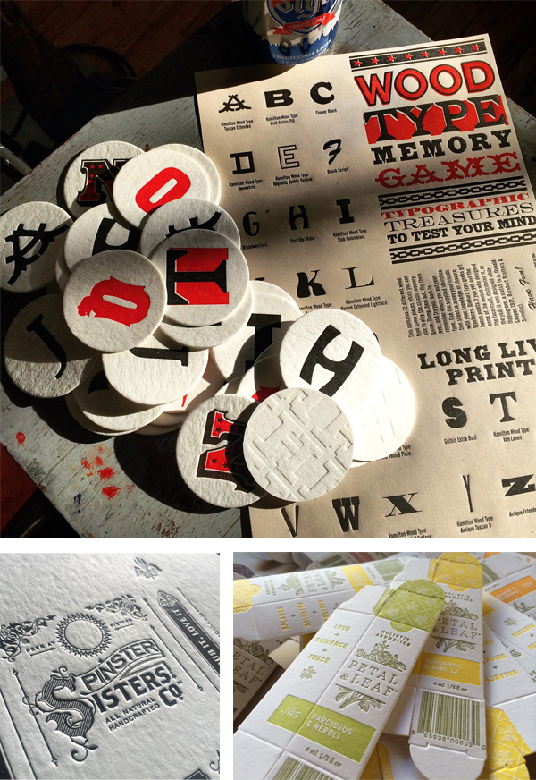 Eye-popping color and beautiful blind deboss letterpress pieces are hand-crafted with care at Genghis Kern (Colorado).