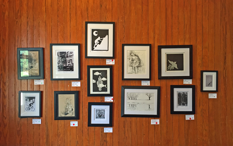 Letterpress art prints designed by George Davis on display