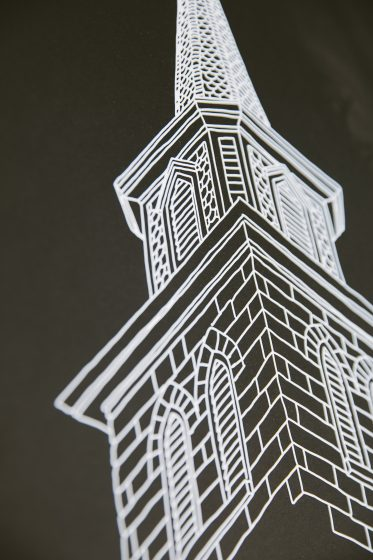 St. Joseph's Steeple letterpress art print designed by George Davis and printed by Boxcar Press