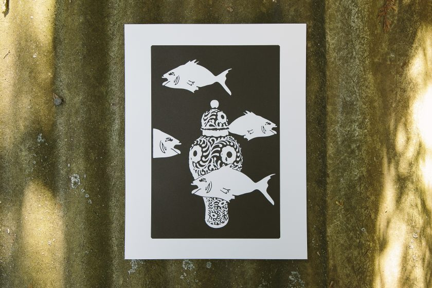 Design Shoal, a letterpress art print designed by George Davis and printed by Boxcar Press