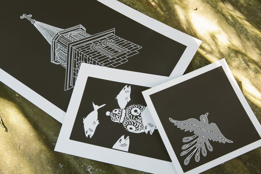 Black and white letterpress art prints from Boxcar Press