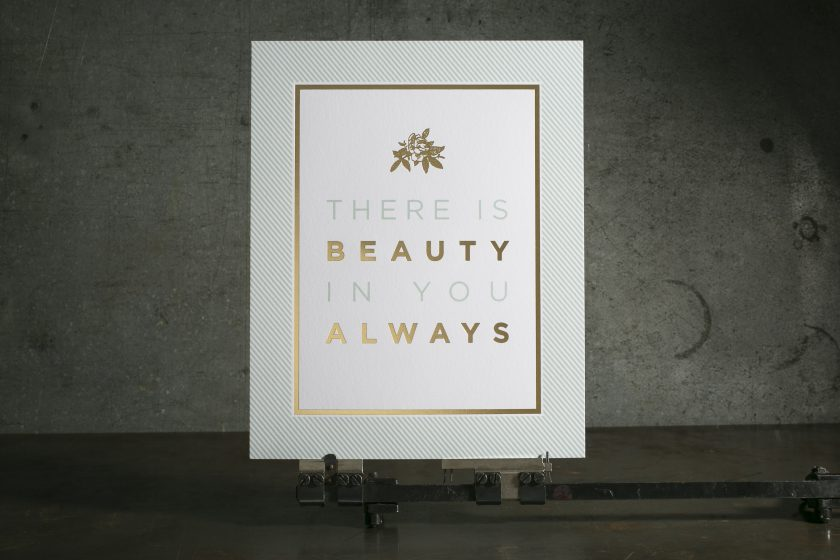 Blue + gold foil stamped art prints printed by Boxcar Press for Ophelia's Place