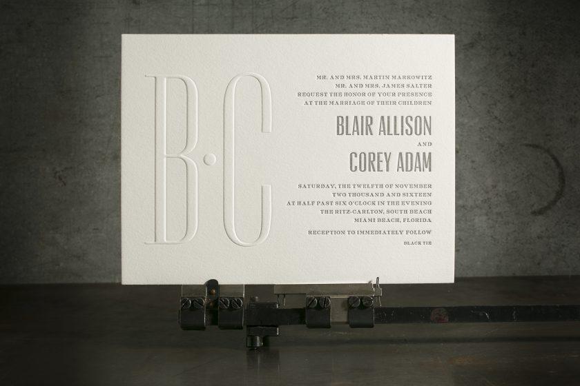 Custom Letterpress Blind Embossed Wedding Invitations