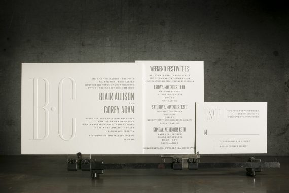 Letterpress + blind embossed custom wedding invitations from Bella Figura