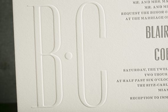 Custom Letterpress Blind Embossed Wedding Invitations