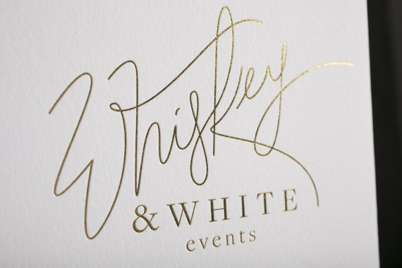 Digitally printed and gold foil stamped marketing cards created for Whiskey & White Events by Boxcar Press