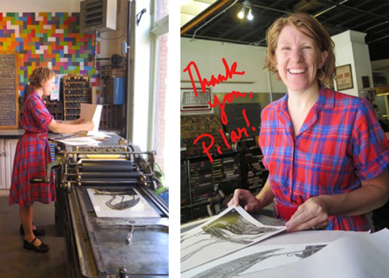 Dana Kaddison prints beautiful letterpress flamingo monoprints with Pilar Nadil.
