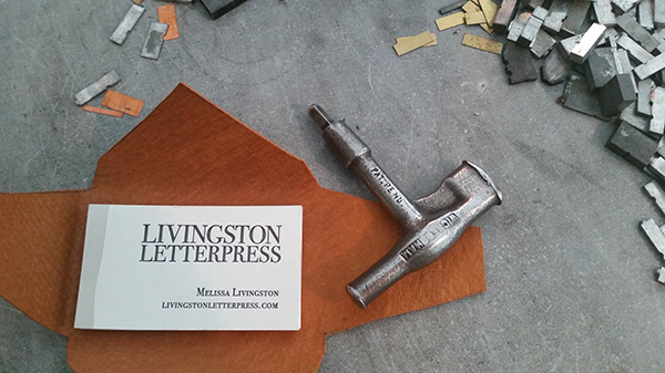 Melissa Livingston's gorgeous letterpress business cards for Livingston Letterpress