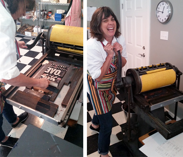 Melissa Livingston cheerily prints on a Chandler & Price Oldstyle in her letterpress shop in Oakton, Virginia.