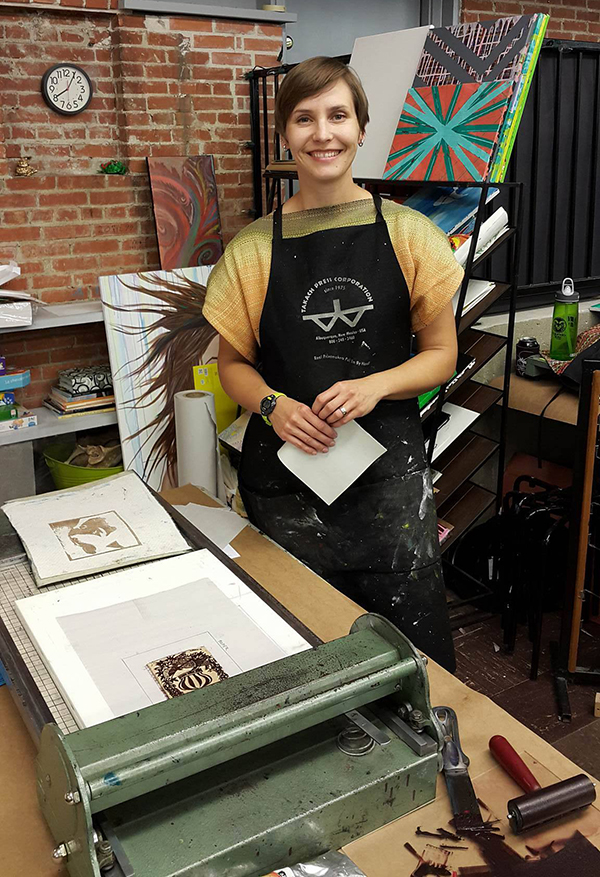Mirka Hokkanen of Texas prints beautiful letterpress and linocut fine art prints.