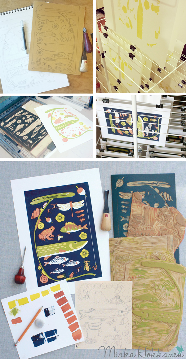 Mirka Hokkanen prints on a Vandercook beautiful nature-themed linocut prints.
