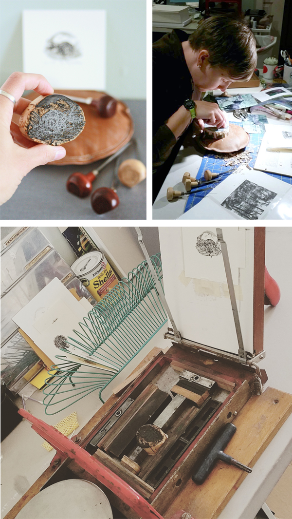 Cutting and printing with linocuts by fine arts printmaker Mirka Hokkannen.
