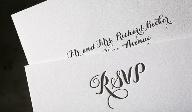 Letterpress wedding invitations by Boxcar Press