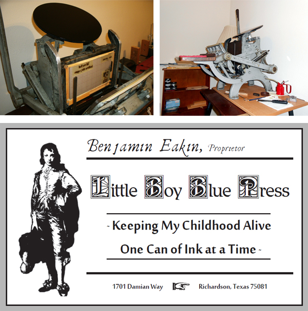 Benjamin Eakin of E.W. Card Crafts (Texas, USA) and his Craftsmen Superior tabletop letterpress press.