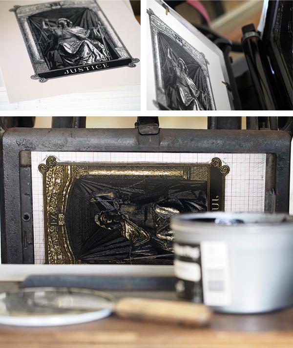 Chris Ovidiyenko of Dead on Paper brilliantly prints eerily beautiful detail in his letterpress Arcana tarot card poster series.