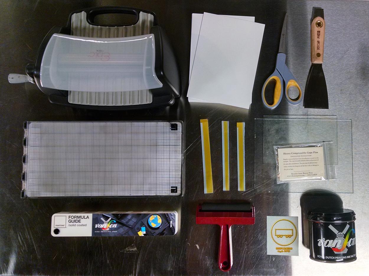 L letterpress at home diy letterpress printing start up costs l letterpress startup materials including l letterpress machine paper ink knife ink strips solutioingenieria Images