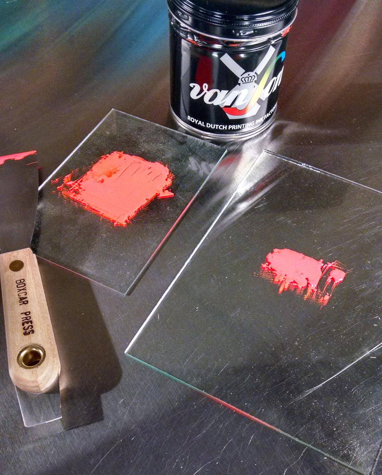 Twp ink plates for L Letterpress DIY printing.