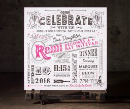 Carnival inspired letterpress party invitations