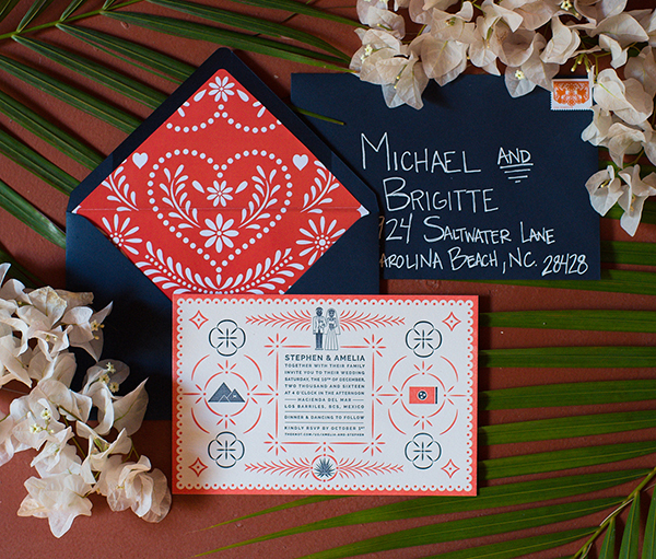 Red and blue traditional wedding invitation from Ice Pond Press.
