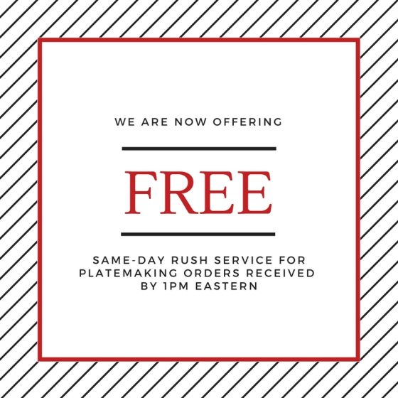 Free same-day rush service now available from Boxcar Press. letterpress plates.