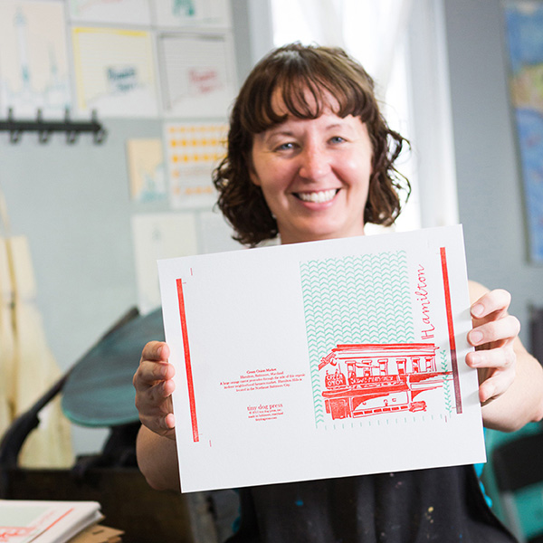 Kari Miller of Tiny Dog Press produces big, bold, and colorful prints in her cozy Baltimore-based garage printshop.