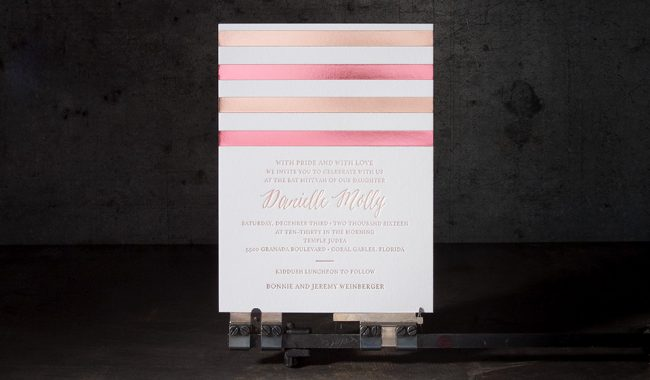 Two-tone rose gold foil stamped Bat Mitzvah invitations from Boxcar Press + Bella Figura