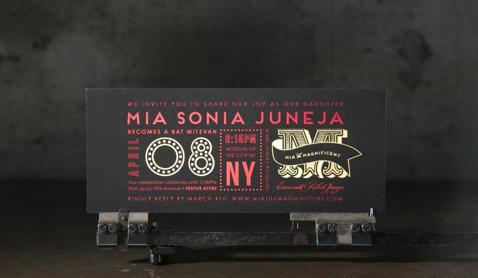 Custom red shine foil stamped Bat Mitzvah invitations from Boxcar Press