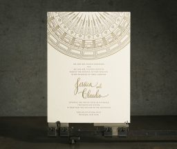 Intricate letterpress + foil stamped wedding invitations