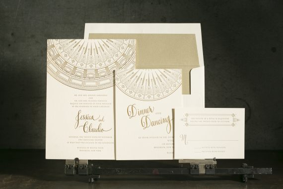 Intricate letterpress and foil stamped wedding invitations.