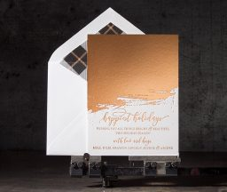 Copper foil stamped holiday cards from Bella Figura