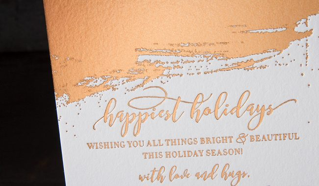 Modern copper foil stamped holiday cards by Bella Figura