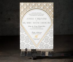 art deco letterpress and foil stamped wedding invitations