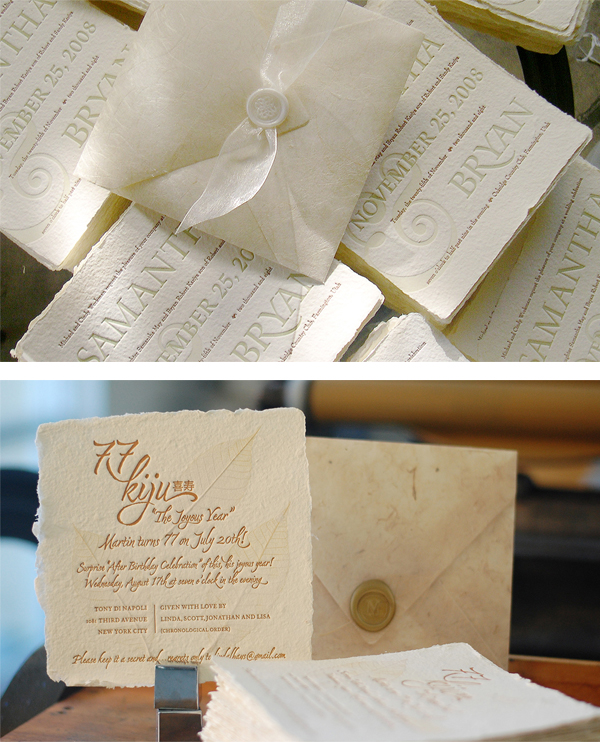 Printing on Specialty Papers: Seed Paper or Handmade Paper - Annika Buxman prints elegant and memorable wedding invitations on handmade paper (De Milo Design).