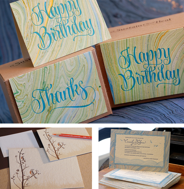 Printing on Specialty Papers: Seed Paper or Handmade Paper - Annika Buxman prints elegant and memorable letterpress Happy Birthday card on handmade, marbled paper (De Milo Design).