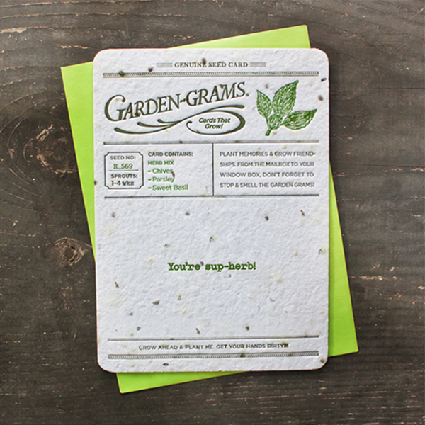 Printing on Specialty Papers: Seed Paper or Handmade Paper -Seed paper letterpress printed on by Blooming Paper via their Garden Gram piece.