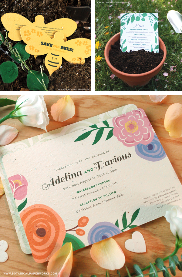 Printing on Specialty Papers: Seed Paper or Handmade Paper - Seed paper from Botanical Papers adds eco-friendly touch to wedding invitations and business cards.