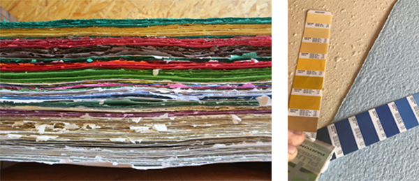 Printing on Specialty Papers: Seed Paper or Handmade Paper - Stacks of colorful handmade paper from Porridge Paper.