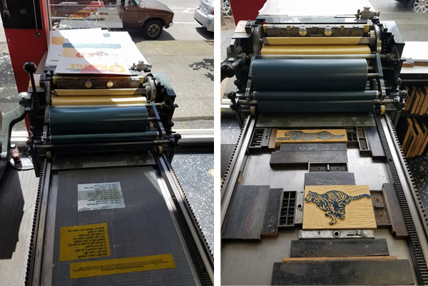 Heidi Hespelt prints on a Vandercook for SVC Children's Broadsides.