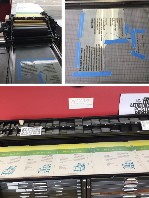 Jane Suchran prints on a Vandercook for SVC Children's Broadsides.