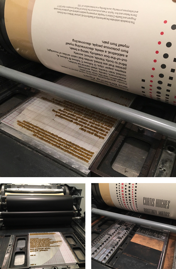 Laura Bentley printing on a Vandercook letterpress press.