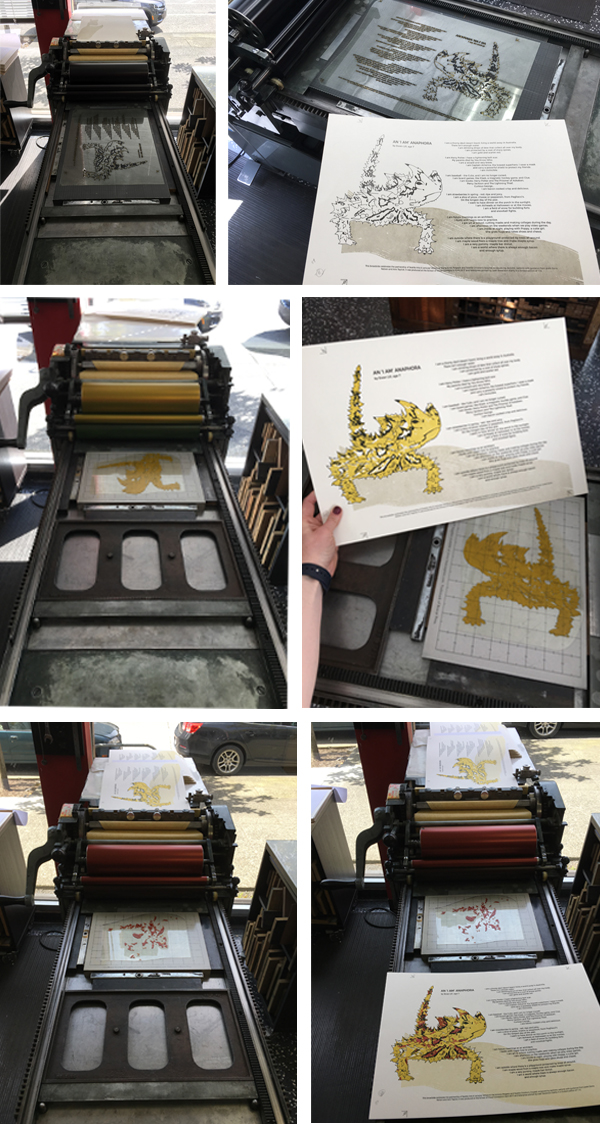 Leah-Stevenson uses a Vandercook to print.