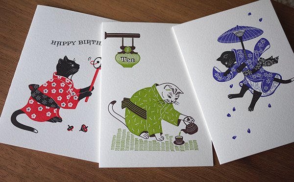 Eye popping color of whimsical and beautiful Japanese cats in kimonos grace Harumi Kobayashi's expertly printed letterpress cards.