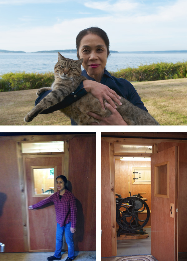 Harumi Kobayashi says hello with her cat; gives a tour to her printing press shop.