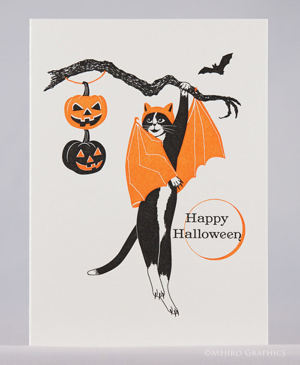 Fun & bright colored halloween letterpress printed card from Harumi Kobayashi features japanese-influenced cats.